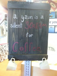A yawn is a silent scream for coffee with coffee hooks