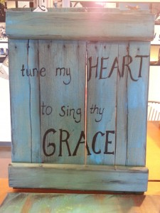 Tune my Heart to Sing thy grace salvaged pallet sign